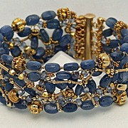 SOLD Blue Kyanite & 14K Gold Filled Thick Wrap Bracelet