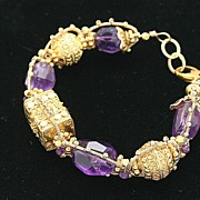 Spectacular Amethyst Nuggets and Gold Vermeil Bali Beads