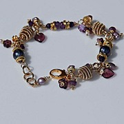 Amethyst and Purple Cultured Pearl Bracelet