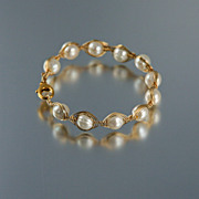 White Cultured Pearl and 14K gold Filled Bracelet