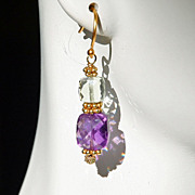 Purple and Green Amethyst Pierced Earrings