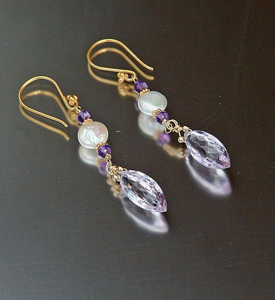 Pink Amethyst and Coin Pearl Earrings