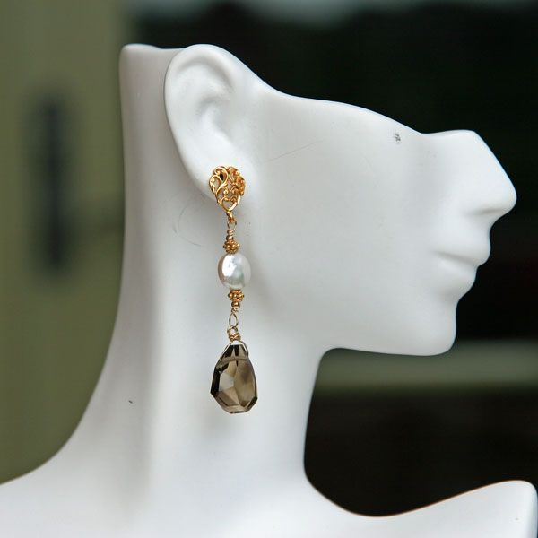 Smoky Quartz, Coin Pearl and Gold Vermeil  Earrings