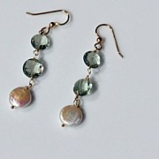 SALE Glistening Green Amethyst & Pearl Earrings