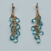 Shimmering Blue Zircon & 14K Gold Filled Pierced Earrings