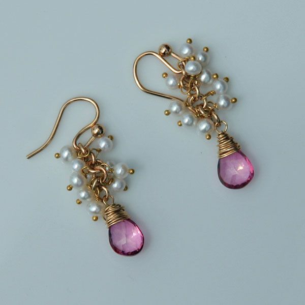 Precious Pink Topaz Briolette Earrings