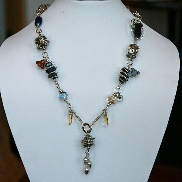 Blue Sapphire, Citrine, Moonstone, Iolite &Sterling Silver  Necklace