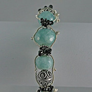 Aquamarine Faceted Gemstones & Sterling Silver Bracelet