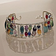 Fine Quality Gemstones and Sterling Silver Bracelet