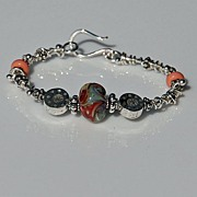 Sterling Silver and Coral Shaded Lampwork Bracelet
