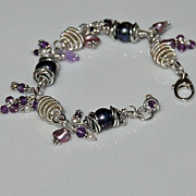 Sterling Silver Bracelet with Amethyst and Purple Cultured Pearls