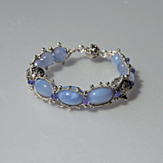 SOLD Blue Chalcedony, Tanzanite & Sterling Silver Bracelet