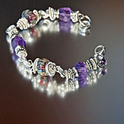 Purple Amethyst and Lampwork Bead Sterling Silver Bracelet