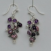 Sterling, Amethyst and Purple Cultured Pearl Earrings
