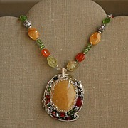 SOLD Yellow Jade Pendant on Necklace
