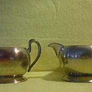 Vintage 50's ACADEMY SILVER on Copper Cream and Sugar Set