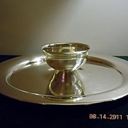 "Vintage Wm A. Rogers Silverplated 15"" Round Colonial Style Serving Tray with attached Bow"