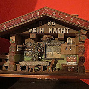 Antique Christmas Folk Tramp Art Berg Weih Nacht