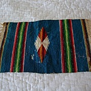 "Antique hand made 10"" miniature Native American Indian doll house  rug"