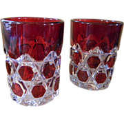 Two Red Ruby Flash Early American Pattern Glass Tumblers &quot;Block Beveled Buttons&quot;