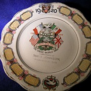 1920 World War One Victory Calendar Plate Perdueville Illinois