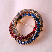 Red White and Blue Rhinestone Brooch