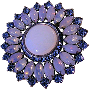 Opalescent Cabochon and Blue Diamond Cut Rhinestone Brooch