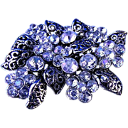 Filigree type pin with Clear Diamond Cut Rhinestones Brooch