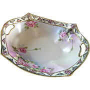 Hand Painted Nippon Nut Dish with Pink Roses & Gold Trim