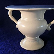 Old Rumrill Ivory with Blue Interior Vase
