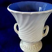 RumRill  Ivory with Blue Interior Planter or Vase