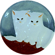 White Kitten Majolica Six Inch Plate
