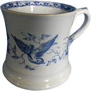 Staffordshire Earthenware Shaving Mug   Blue Transferware  Florence Pattern