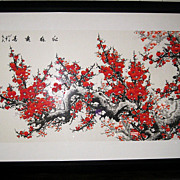 Chinese Watercolor of Cherry Blossoms