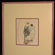 Woodblock Print �Man with Fish�