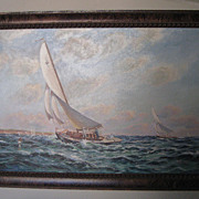 Oil Painting �Seascape� a Sailing Race by M. Wheet