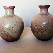 Pair 19th C. Chinese Porcelain Peachbloom Glazed Vases