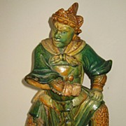 Chinese Ming Dynasty Green-Glazed Pottery Warrior Figure