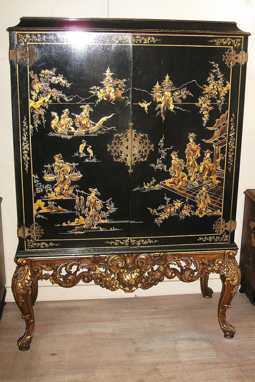 Elegant chinese black lacquer and gilt cabinet from for Chinese art furniture