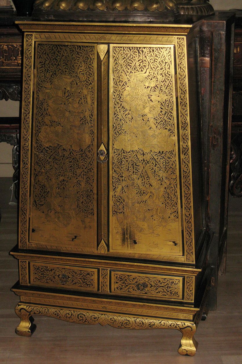 Thai gilt tapering lacquer cabinet from dynastycollections for South asian furniture