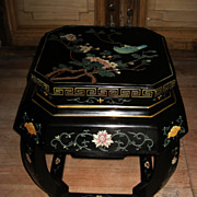 Chinese Black Lacquer Stool with Birds