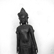 Tall Bronze Buddha Standing on Wood Base