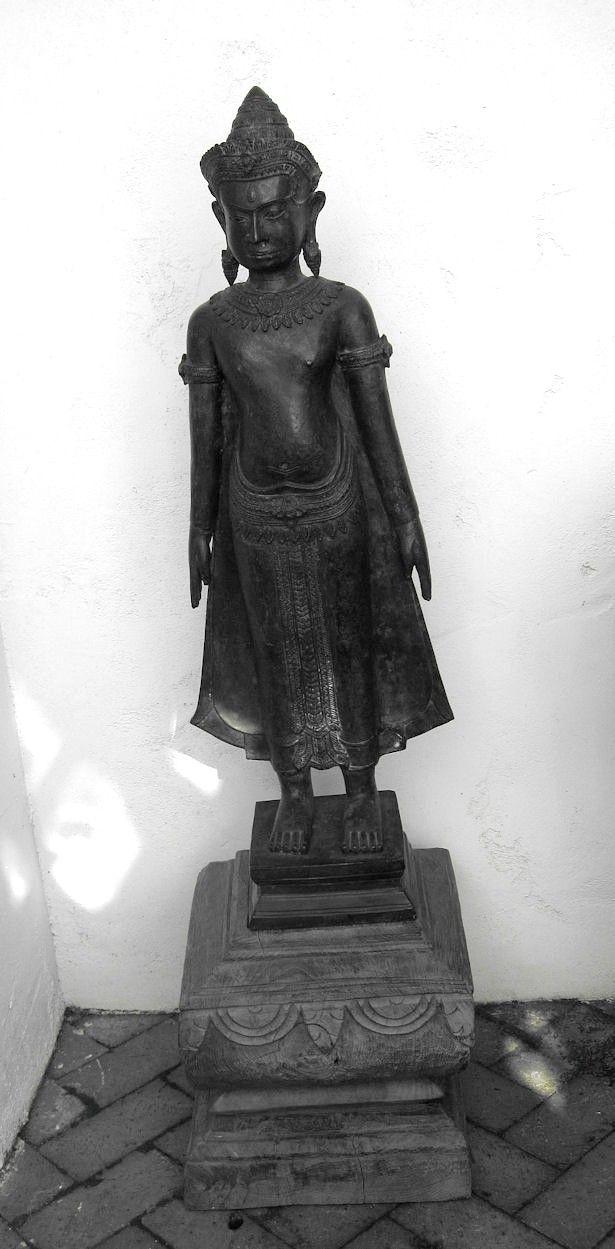 Tall Bronze Buddha Standing on Wood Base