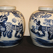 Pair of Chinese Blue and White Porcelain Jars