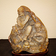 Superb Chinese Soapstone Figural Carving