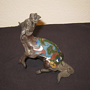 19th C. Japanese Bronze & Cloisonn Kylin