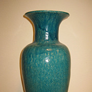 Tall Chinese Blue-Green Glaze Vase