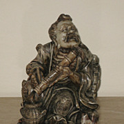 Chinese Soapstone Fisherman & Child