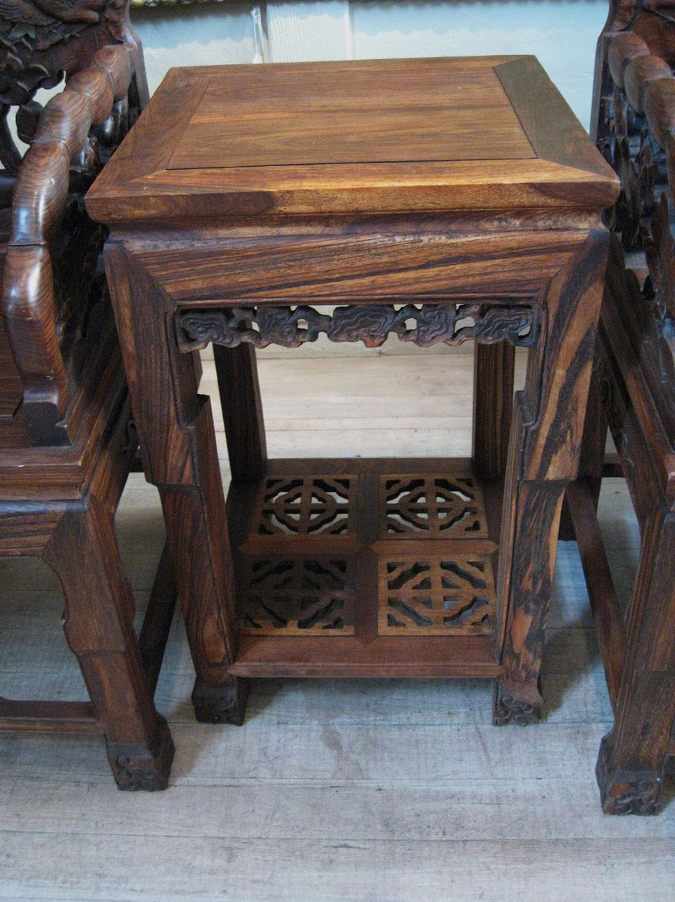 Asian Wood Arm Chairs ~ Pair of large heavy chinese carved wood arm chairs