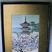Woodblock Print of �Pagoda with Flowering Tree�